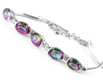 Sterling Mystic Topaz, Mystic Topaz Bracelet, Rainbow Mystic Topaz, Tennis Bracelet, Bridesmaide Gift, Anniversary Jewelry,