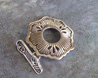 Mandala Clasp ~ Large Solid Sterling Silver Toggle