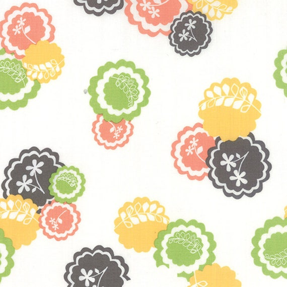 Corey Yoder Little Miss Shabby White Prairie Doily Flower Quilt Fabric. Flowers Are Green, Yellow, Gray and Peach. 29001-11