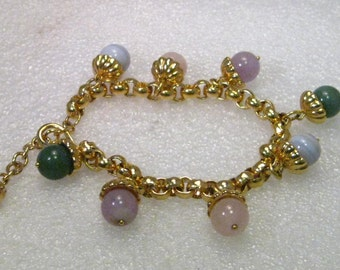 "Vintage Gold Tone Hardstone Capped Beaded Charm Bracelet, 7.5"" with 2"" extender chain"