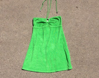 90s lime tube top terry cloth Ralph Lauren dress small