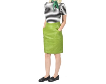 Vintage 1980's Lime Green Leather Skirt