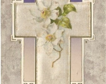 White Silk Cross with White Crab Apple Blossoms Vintage Postcard Easter Greeting 1910s