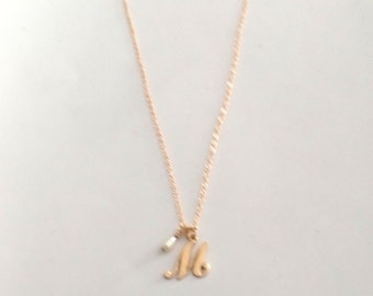 """Alphabet Initial Letter""""M"""" Gold Filed Necklace, Monogram Jewelry, Typography Jewelry, Letter and Genuine Pearl Charm Pendant, GF Fine Chain"""