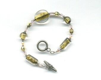 Chunky Round Shapes Gold Foil Lampwork Czech Glass Beads Sterling Silver  Bracelet