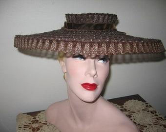 1940's Brown Wide Brimmed Cartwheel Hat!