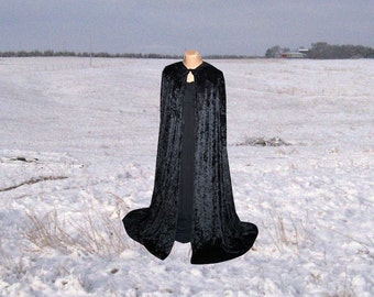 Cloak - Cape - Black Velvet - Halloween Costume - Renaissance Wedding - Fairy