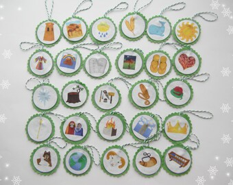 Felt Jesse Tree Ornament Set for Advent Christian Advent Calendar green leading to Christmas Heirloom Jesse Tree Ornaments