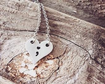 Heart Necklace / Semi colon / Awareness Necklace / Heart