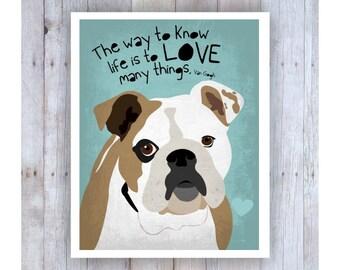 English Bulldog Art, Bulldog Wall Decor, van Gogh Quote, Bulldog Picture, Bulldog Print, Bulldog Wall Art, Dog Art, Inspirational Art