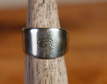 "Vintage Silver Spoon Ring ""G"""