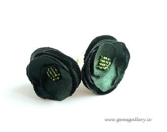 Flower Cufflinks, Green Cufflinks for Bride, Cufflinks for Groom, Wedding Cufflinks