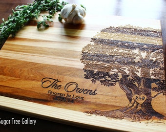 Wedding Gift, Christmas Gift, Tree Cutting Board, Bridal Shower Gift, Gift For Mom, Family Tree, Custom Name, Anniversary, Wedding Gift