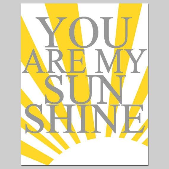 You Are My Sunshine 11x14 Print Modern Nursery Art Kids