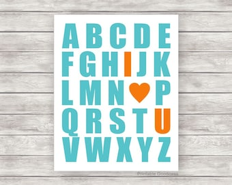 Nursery Printable Alphabet I Love You, Playroom Wall Art, Baby Boy Wall Art, Boys Room Décor, Kids Print, ABC Printable Teal Orange