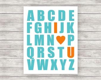 Nursery Printable Alphabet I Love You, Playroom Wall Art, Baby Boy Wall Art, Boys Room Décor, Kids Print, ABC Printable Teal Orange