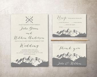 Mountain Wedding Invitation Printable, Winter Wedding Invitation, Modern Christmas Wedding Invitation, Printable Wedding Invitation Suite