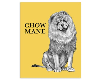 "Chow Mane 8x10"" High Quality Color Print, Chow Chow + Lion Hybrid Animal, Wall Art, Office Décor, Whatif Creations, Portland, OR"