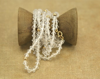 Vintage 4mm Crystal 14K Gold Clasp Beads Necklace