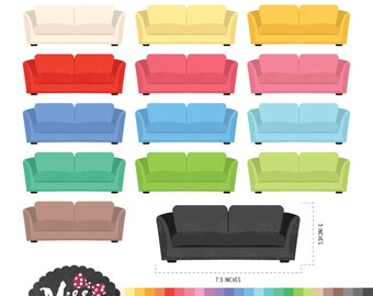 30 Colors Sofa Clipart - Instant Download