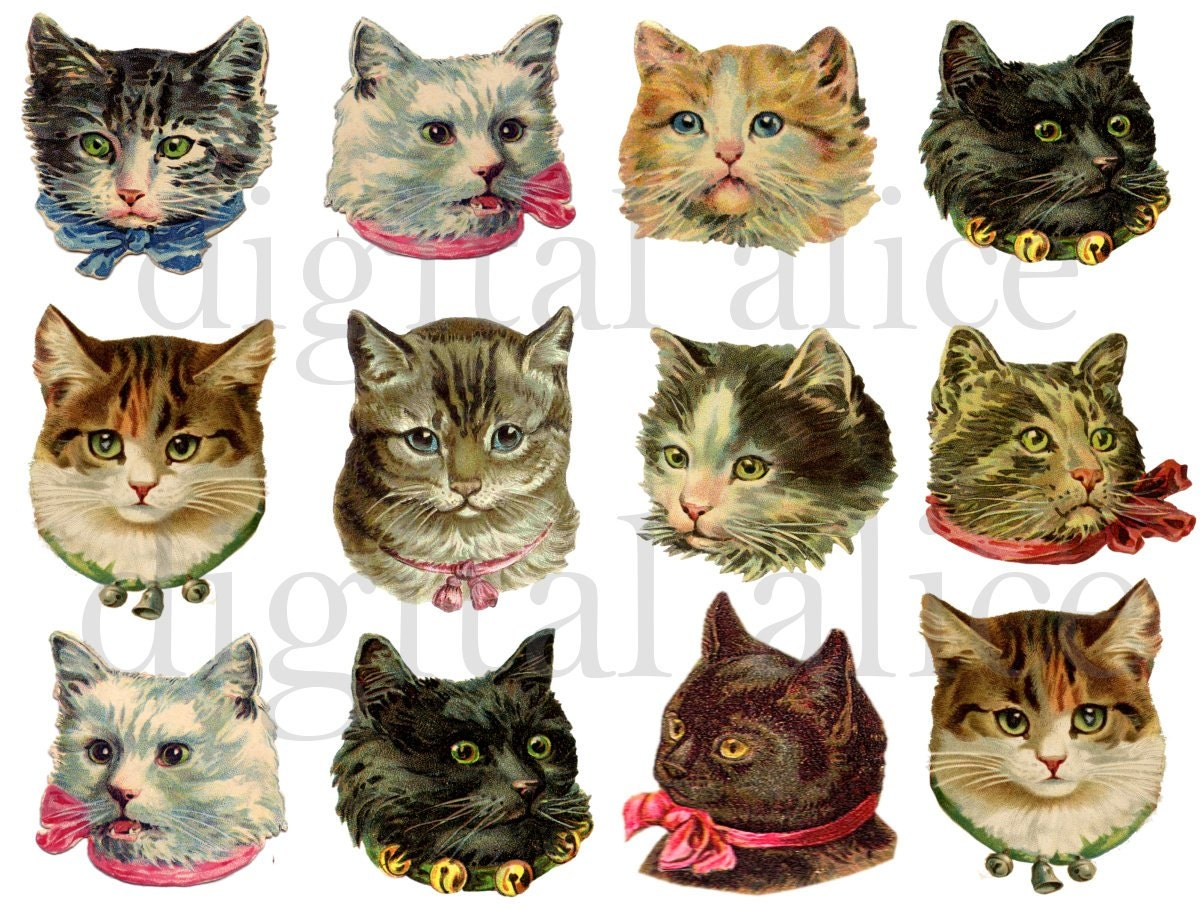 Print Your Own Wall Stickers Vintage Victorian Cats Fluffy Cute Kitty Cat Heads Instant