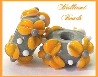 Grey & Saffron Yellow Floral Glass Bead Pair...Handmade Lampwork Beads SRA, Made To Order