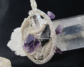Beautiful Silver Wire Wrap Made With .999 Fine Silver With Amethyst, Quartz, and Black Tourmaline!