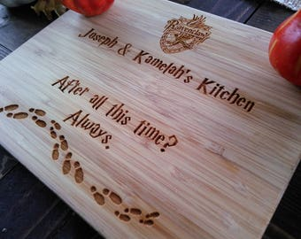 Customized Harry Potter Cutting Board, Marauder's Map, After all this time, Always,  BungalowBoo, Family, Choose Your House
