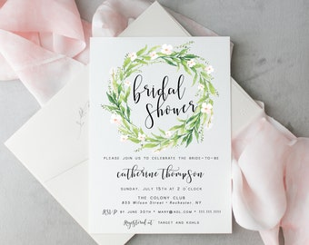 Bridal Shower Invitation, Greenery Bridal Shower Invite, Wreath, Printable, Template, Greenery