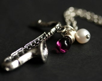 Silver Saxophone Necklace. Music Necklace. Musical Instrument Charm Necklace with Glass Teardrop and Fresh Water Pearl.