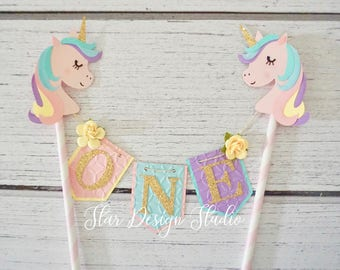 """Unicorn Cake topper """"One""""  Pink, Purple, Mint and Aqua Cake Topper Birthday bunting- Series 5, Glitter Gold, Any age and name available"""
