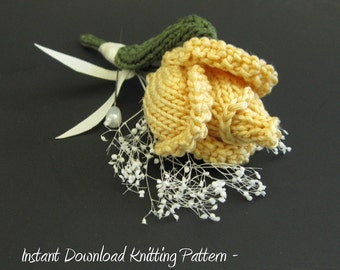PDF Instructional Knitting Flower Pattern - Rose Bud Corsage / Boutonniere