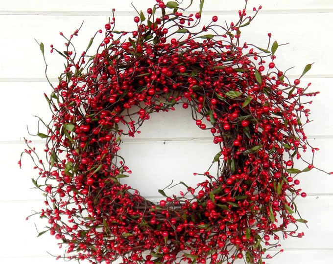 Featured listing image: Summer Wreath-Farmhouse Decor-Door Wreath-Winter Wreath-Holiday Wreath-Wreath for Fireplace-Wreath-RED Berry Wreath-Holiday Home Decor-Gifts