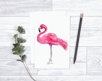 "Pink Flamingo  - Note Cards - 4""x6"" - Individua Cardl - Greeting Card - Gifts For Her - Pink Flamingo - Teens - Paper Goods"