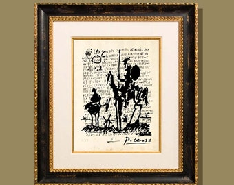 """Don Quixote - Picasso"""" 8.5""""x11"""", printed on a letter written by Picasso, Modern Art, Giclee print, Fine Art Print, Picasso sketch print"""
