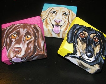 Set of Three Custom Pet Portrait Paintings size 4x4