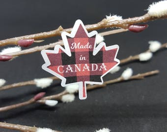 Made In Canada - Buffalo Plaid Maple Leafs - Envelope Seals - Stickers - Labels