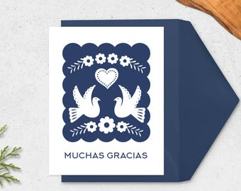 Papel Picado Muchas Gracias Card - Spanish Thank You Card In Sapphire, Printable