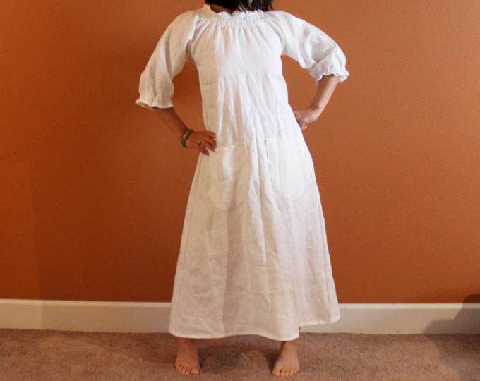 custom fit shirred neckline sleeve end linen dress / relaxed linen dress / linen maxi dress / plus size / petite / handmade linen dress