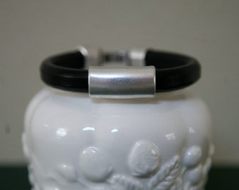 FREE Shipping in US Unisex Thick Black Leather and Metal Tube Bracelet