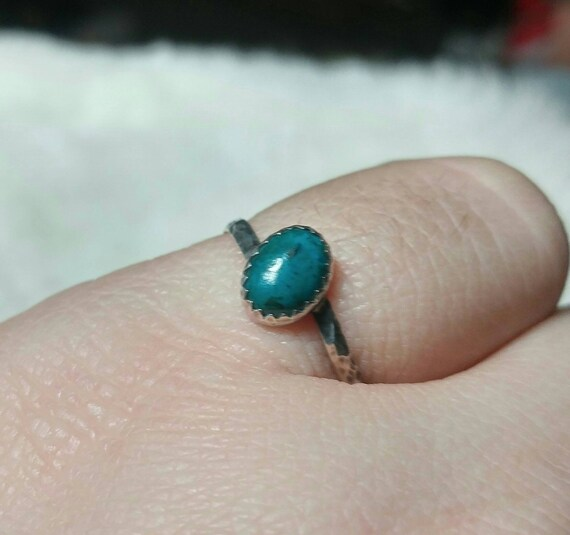 Simple Turquoise Blue Ring | Sterling Silver Ring Sz 8 | Blue Green Stone Ring | Chrysocolla Ring | Simple Blue Stone Ring