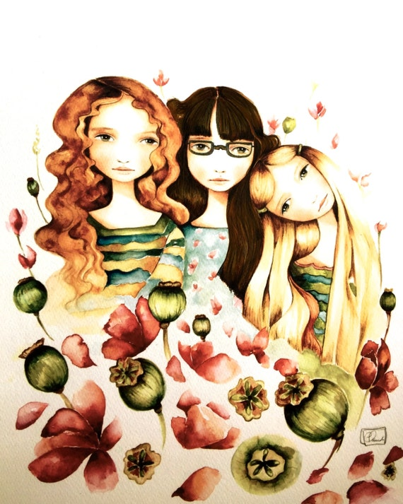 The 3 sisters art print with glasses