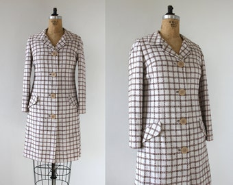 vintage 1960s coat / 60s light weight spring jacket / 60s windowpane coat / 60s spring coat / 60s white brown check dress / medium