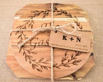 Personalized Wood Trivet Set