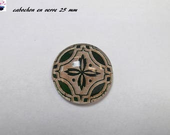 1 cabochon clear 25 mm round lucky clover theme