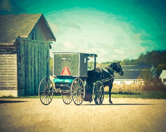 Amish Decor, Home Decor, Country Decor, Horse, Buggy, Country Wall Art, Rustic Decor, Kitchen Decor