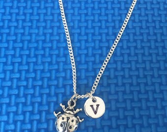 Lady Bug necklace ,Jewelry, Silver Jewelry, Lady Bug jewelry, Necklace for girl CP15