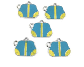 5 handbag enamel and silver tone / 17mm to 21mm #Ch 646