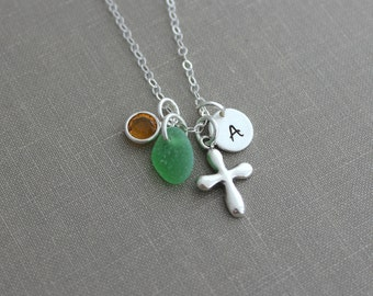 Sterling silver Personalized Puffy Cross Charm Necklace with Genuine Sea Glass and Mini Initial Charm, Swarovski Crystal Birthstone - Custom