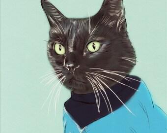 Custom Pet Portrait+ Accesories-DIGITAL- Personalized Cat Illustration-Gift-Pet Portrait. Cat-Gift-Dog-Pet Illustration